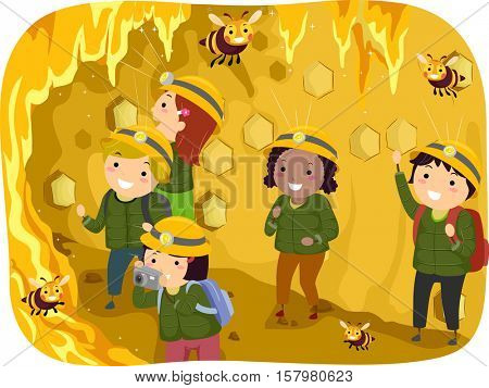 Stickman Illustration of a Group of Preschool Kids Observing Bees in a Giant Honeycomb