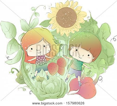 Colorful Illustration of a Cute Pair of Kids Playing Amidst Giant Vegetables