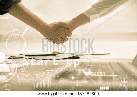 Double Exposure Of Businessman And Businesswoman Handshake After Successful On Target  Development P