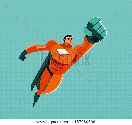 Flying superhero. Power, speed, USA. Vector illustration
