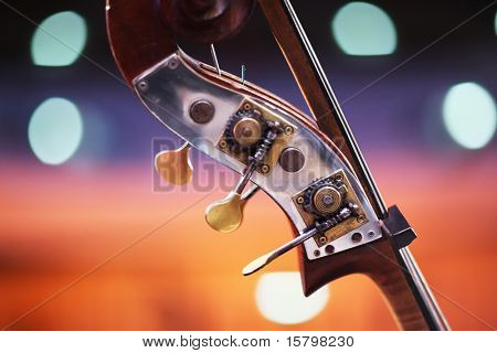 Close-up detail of double bass over blurred background. Shallow DOF.
