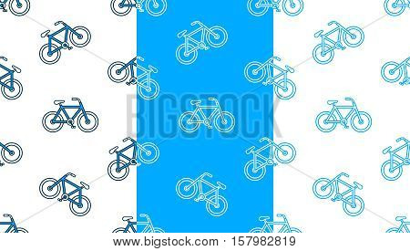 Seamless vector pattern set of various bicycle silhouettes on white and blue backgrounds