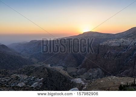 View of Dana Biosphere reserve at sunset, Jordan