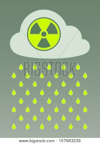 Vector illustration of cloud with radioactive icon and nuclear fallout rain over foggy colored background