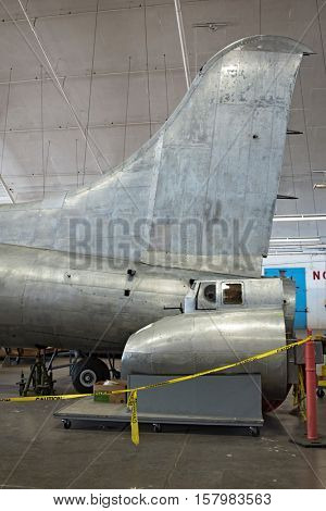DAYTON, OHIO, USA - NOVEMBER 18, 2016:National Museum USAF is restoring the famous original WWII Memphis Belle B-17F Flying Fortress bomber, shown here with tail gunner assemblage in restoration area.