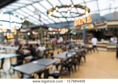 Blur Backgrounf Of Food Park Or Food Center