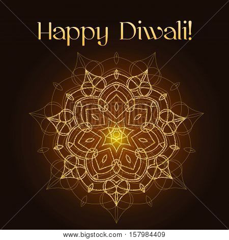 Diwali celebration background. Indian festival of lights. Greeting card with shiny floral mandala and gold glitter text Happy Diwali. Realistic gold sequins with blinks. Vector EPS10 illustration.
