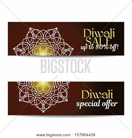 Set of Diwali big sale banners. Indian festival of lights. Flyers with gold glitter shiny text and floral mandalas. Special discount offer. Realistic gold sequins. Vector EPS10 illustration.