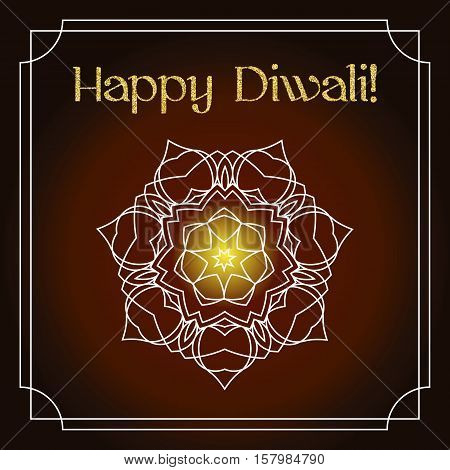 Diwali celebration background. Indian festival of lights. Greeting card with shiny white floral mandala and gold glitter text Happy Diwali. Realistic gold sequins with blinks. Vector EPS10 illustration.
