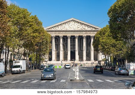 PARIS FRANCE - OCTOBER 11 2015: L'eglise de la Madeleine is actually a church dedicated to Saint Mary Magdalene Paris France