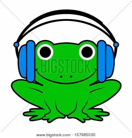 Vector illustration of happy green frog wearing headphones isolated on white