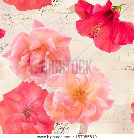 A seamless pattern with blooming pink and red roses on the background of old ephemera