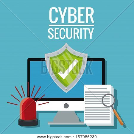 Computer shield alarm and document icon. Cyber security system warning and protection theme. Vector illustraton
