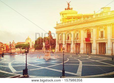 Campidoglio square, Capitoline hill in Rome, Italy, retro toned