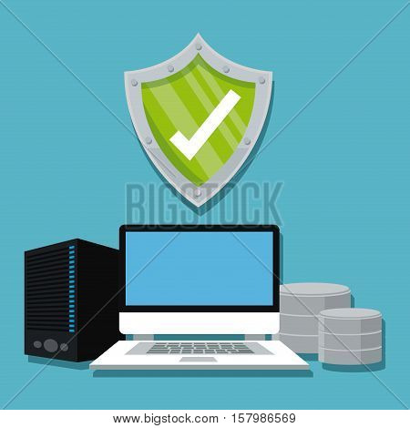 Laptop and shield icon. Cyber security system warning and protection theme. Vector illustraton