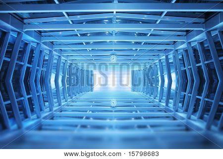 Blaue Interieur, industrielle Gehweg Hintergrund.