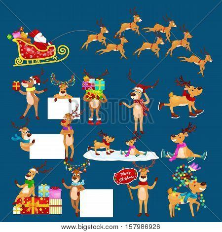 christmas set of deer with banner isolated, happy winter xmas holiday animal greeting card, santa helper reindeer vector illustration, Santa in his Christmas sled being pulled by reindeer.