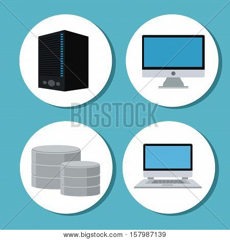 Laptop computer and web hosting icon. Cyber security system warning and protection theme. Vector illustraton