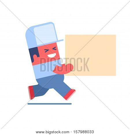 Delivery service. Cartoon delivery man carrying big box. Layered file. You can insert your object or place logo on the cap or box.