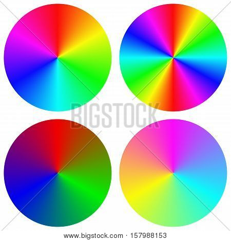 Isolated gradient rainbow circle color palette design set