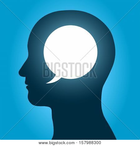 Vector illustration of speech bubble inside human head over blue background