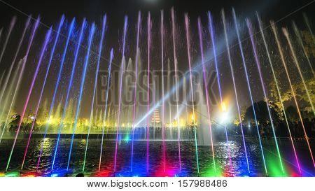 Xian At Night,giant Wild Goose Pagoda.