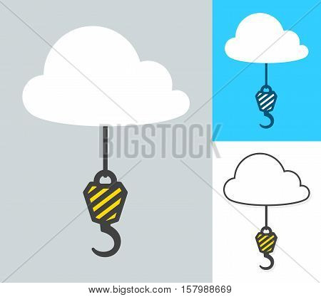 Collage of crane hooks attached to clouds against various backgrounds