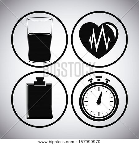 Juice heart chronometer and document icon. Healthy lifestyle fitness sport and bodycare theme. Vector illustration