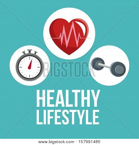 Heart chronometer and weight icon. Healthy lifestyle fitness sport and bodycare theme. Vector illustration