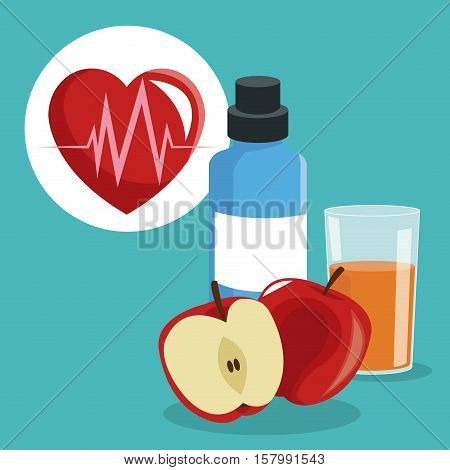 Heart apple bottle and juice icon. Healthy lifestyle fitness sport and bodycare theme. Vector illustration