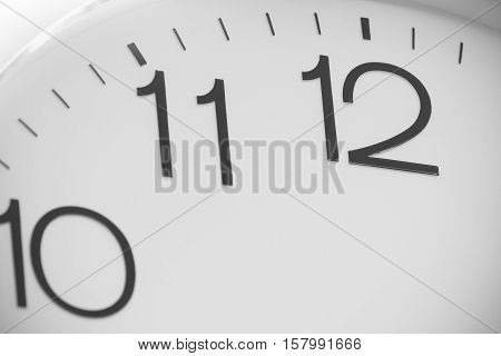 Close up classic black and white number clock on wall.