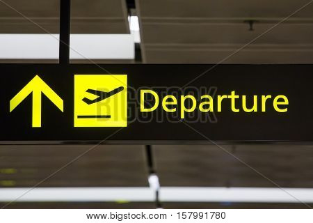 Departure sign in the airport