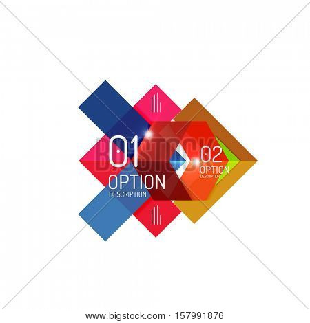 Geometric modern infographic options templates. Vector layouts for presentation, web site or modern print design