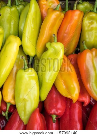 Background of a stacked colourful peppers on sale at the market. Green and red peppers pattern close up.