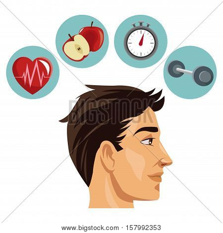 Man weight chronometer apple and heart icon. Healthy lifestyle fitness sport and bodycare theme. Vector illustration
