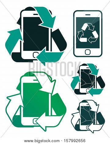 Vector icons set of smart phones with green recycling signs and cracked screen representing environmental conservation isolated on white