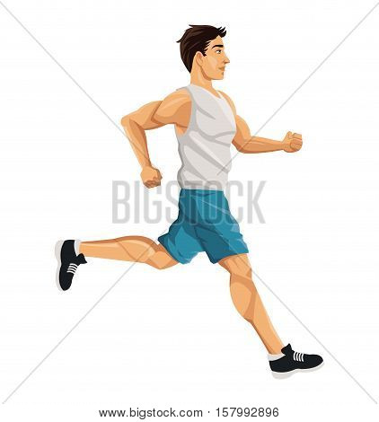 Man running icon. Healthy lifestyle fitness sport and bodycare theme. Vector illustration
