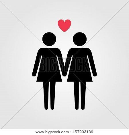 Lesbian couple with red heart vector icon, lesbian marriage