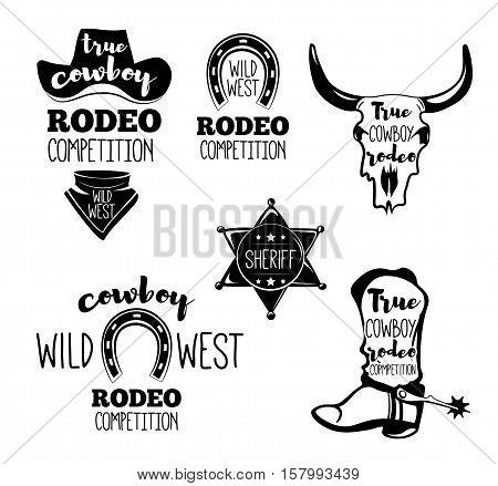 Wild West. Set of vintage rodeo emblems, labels, logos, badges and designed elements. Western USA label about wild west. Vector Illustration