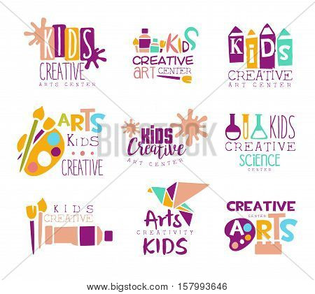 Kids Creative Class Template Promotional Logo Set With Symbols Of Art and Creativity, Painting And Origami. Children Artistic Development Promo Advertisement Signs With Text.