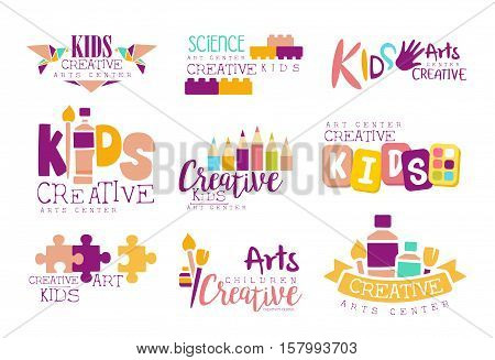 Kids Creative And Science Class Template Promotional Logo Set With Symbols Of Art and Creativity, Painting And Origami. Children Artistic Development Promo Advertisement Signs With Text.