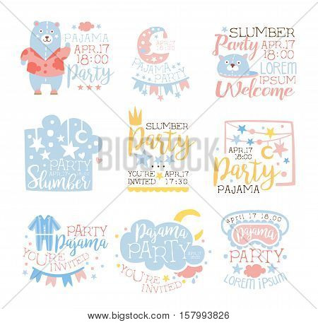 Blue And Pink Girly Pajama Party Invitation Templates Set Inviting Kids For The Slumber Pyjama Overnight Sleepover Cards. Collection Of Stencils For The Welcome Postcards With Night And Bed Symbols In Pastel Colors.