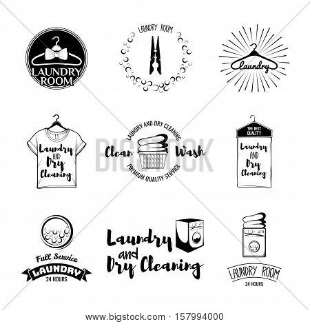 vector set of laundry labels, emblems and design elements. laundry set washing machine, t-shirt, basket with dirty clothes, dry cleaning, hanger, iron, laundry room, washer