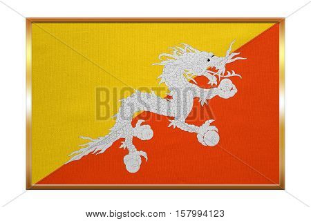 Bhutanese national official flag. Patriotic symbol banner element background. Correct colors. Flag of Bhutan golden frame fabric texture illustration. Accurate size color