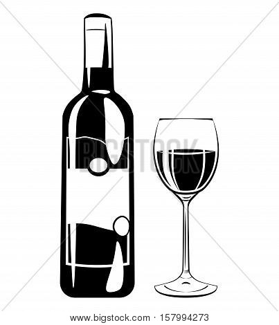 Wine Glass and Botlle. Alcohol Drink Vintage vector Elements. Isolated On White Background