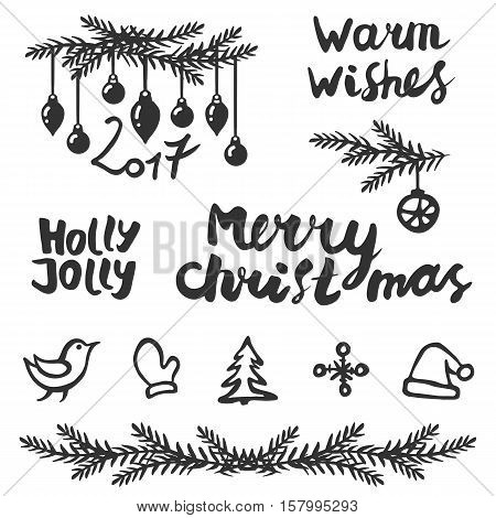 Christmas set. Handwritten lettering: Merry Christmas warm wishes Holly Jolly. And handdrawing decoration. Vector illustration.