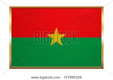 Burkina Faso national official flag. African patriotic symbol banner element background. Correct colors. Flag of Burkina Faso golden frame fabric texture illustration. Accurate size color