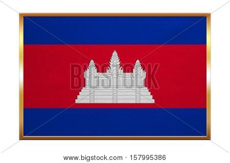 Cambodian national official flag. Patriotic symbol banner element background. Correct colors. Flag of Cambodia golden frame fabric texture illustration. Accurate size color