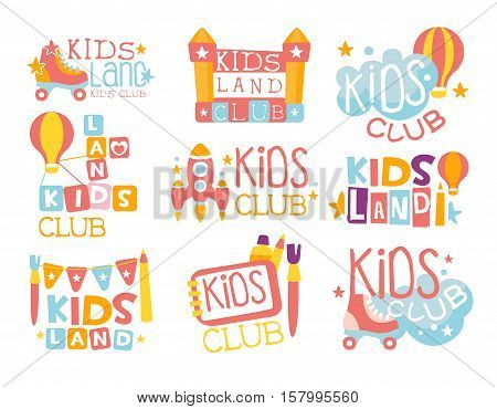Kids Land Playground And Entertainment Club Set Of Colorful Promo Signs For The Playing Space For Children. Template Promotional Logos With Toys And Rides For The Entertaining Family Center.