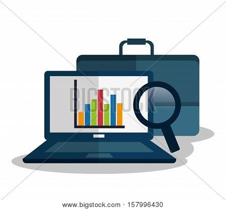 Laptop and infographic icon. Profit money commerce and economy theme. Isolated design. Vector illustration